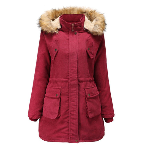 Women Solid Winter Zipper Hooded Overcoat (4370142658700)