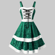 Load image into Gallery viewer, Spaghetti Strap Lace Up Christmas Dress Plus Size (4370148294796)