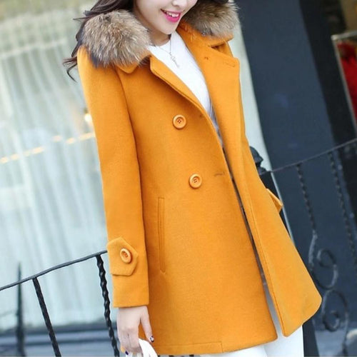 Women Winter Thick Fur Collar Solid Coat