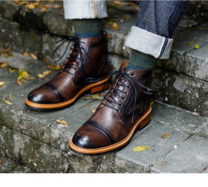 Men Martin Boots Genuine Leather British Retro Style Shoes (4369980784780)