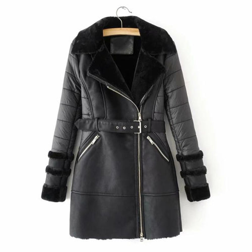 Winter Fashion Long Patchwork PU Leather Jacket (4370005885068)