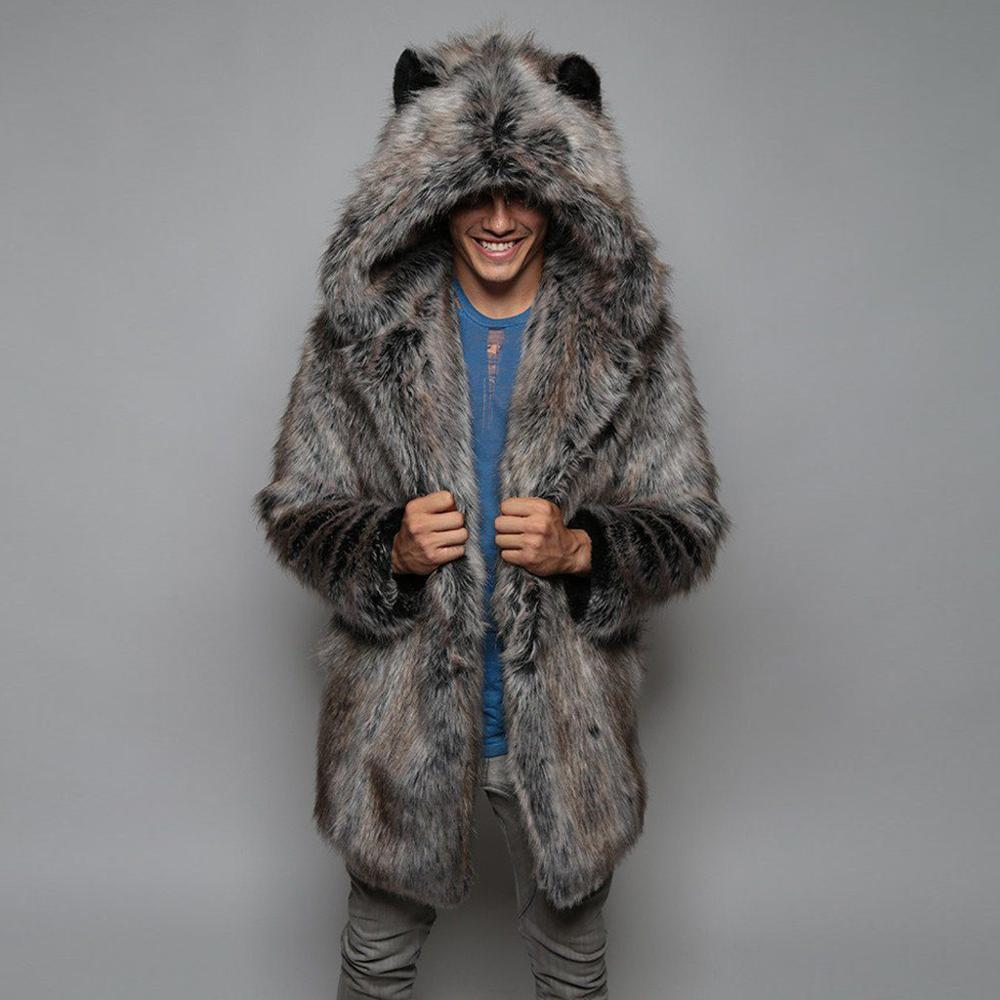 Men Fashion Fur Parka Hooded Oversize Coat (4369817665676)
