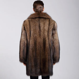 Brown Faux Mink Leather Jacket Warm Fur Leather Coat (4369919508620)