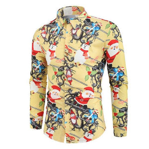 Funny Printed Men Christmas Party Shirt (4370146263180)