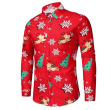 Load image into Gallery viewer, Men Snowflakes Christmas Deer Printed Button Shirt (4370146525324)