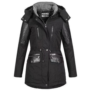 Casual Patchwork Cotton Padded Women Coat (4369999986828)