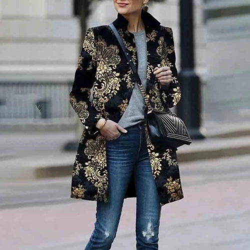 Retro Black Floral Print Coat