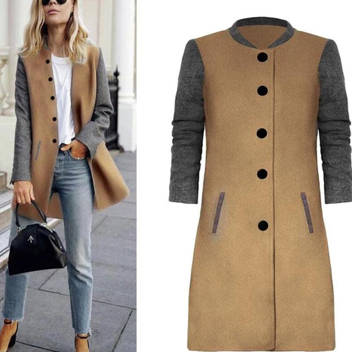 Casual Patchwork Long Sleeve Overcoat