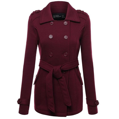 Women Fashion Double Breasted Turn Down Collar Coat