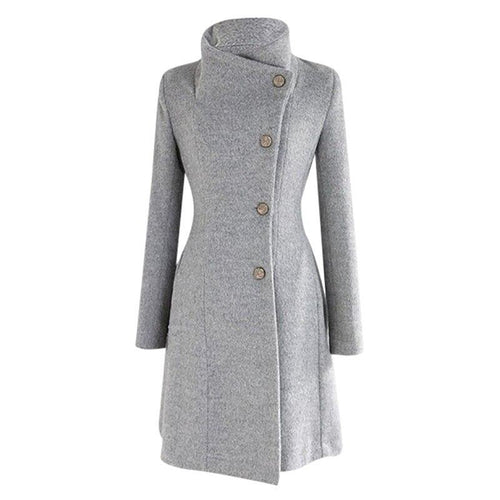 Women Winter Lapel Wool Coat Turn-down Collar