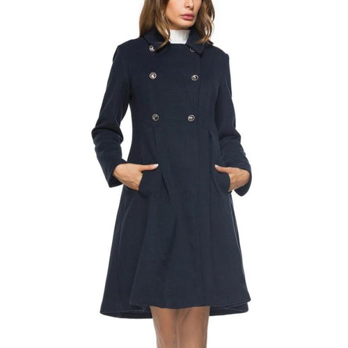 Retro Collar Double Breasted Mid-length Wool Coat