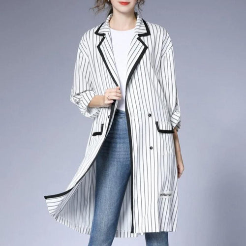 Women Spring Casual Striped Long Trench Coat