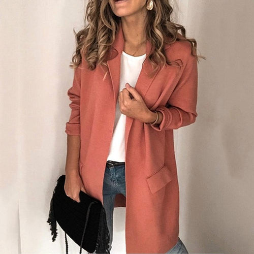 Office Lady Lapel Collar Wool Blends Coat Solid Color