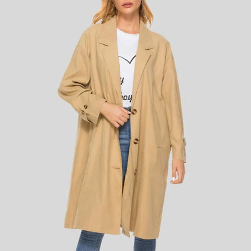 Turn Down Collar Single Breasted Trench Coat