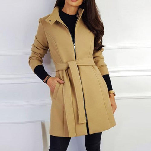 Women Solid Color Belted Zipper Wool Coat