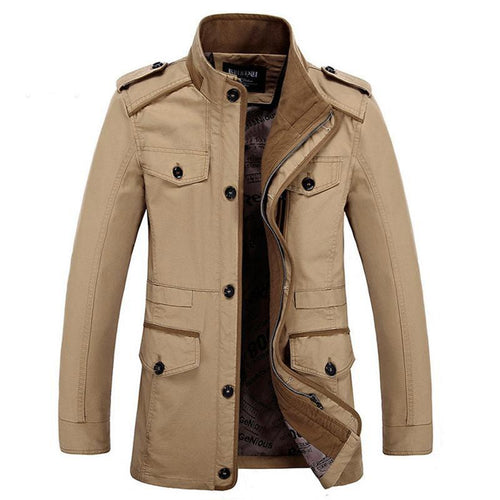 6XL Mens Casual Jacket Stand Collar Long Jacket (4369912987788)