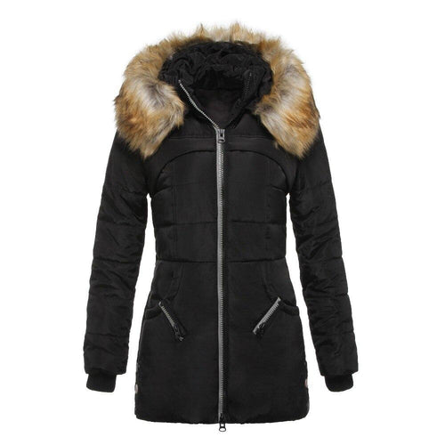 Fashion Winter Fur Collar Hooded Down Coat (4369998971020)