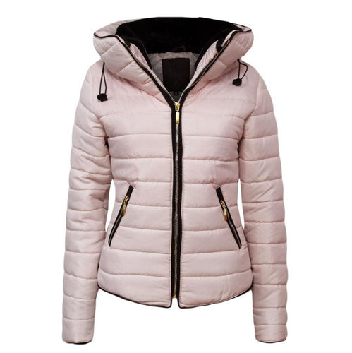Women Puffer Jacket Solid Winter Slim Coat (4370141511820)