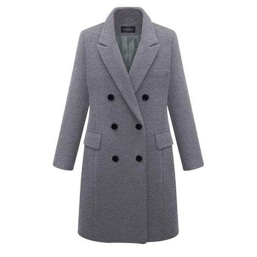 Women Lapel Solid Button Long Coat Plus Size 6XL