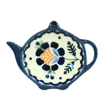 Polish Pottery Blue Daisy Tea Bag Holder