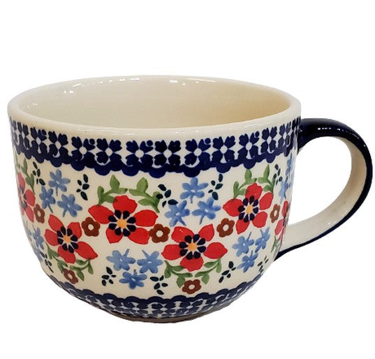 Polish Pottery Country Garden Cappuccino  Mug