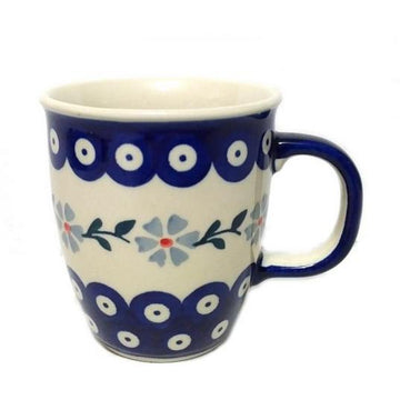 Polish Pottery  Blue Flower Bistro Mug
