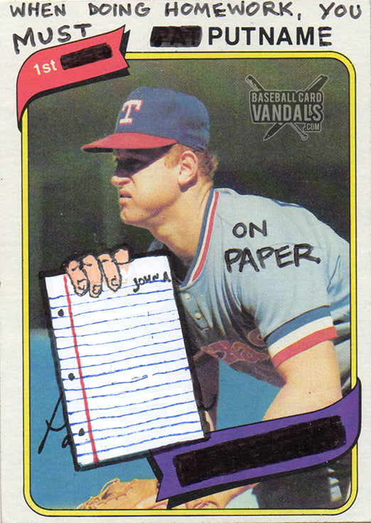 When Doing Homework You Must 1st Put Name On Paper Baseball Card