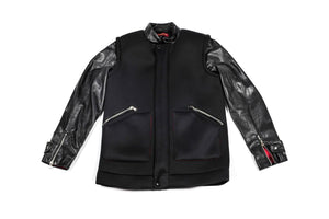 West Village Neoprene Leather Bomber Jacket