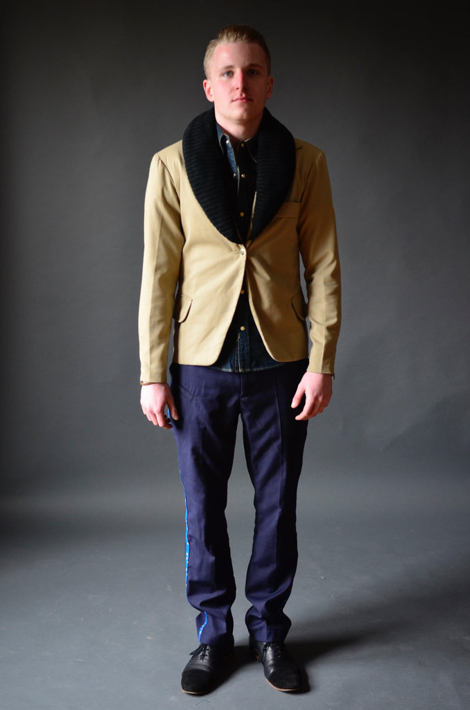 Tan Sport Coat with detachable Knit Collar