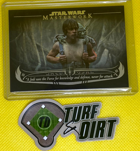 "2020 Star Wars Masterwork The Wisdom of Yoda Rainbow Foil #WY4 ""A Jedi uses the Force for knowledge and defense, never for attack."" #166/299"