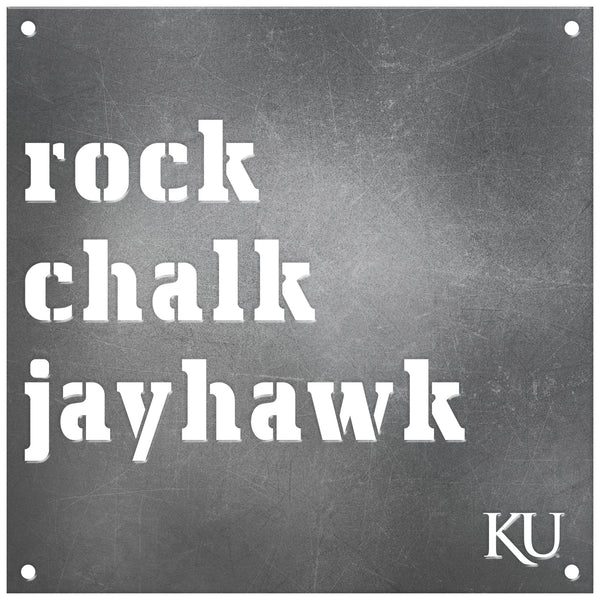 Kansas Jayhawks Laser Cut Raw Steel Sign Spirit Size-ROCK CHALK JAYHAWK