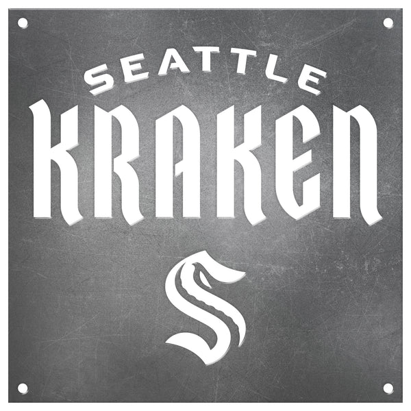 Seattle Kraken Laser Cut Raw Steel Sign Spirit Size-Wordmark Logo
