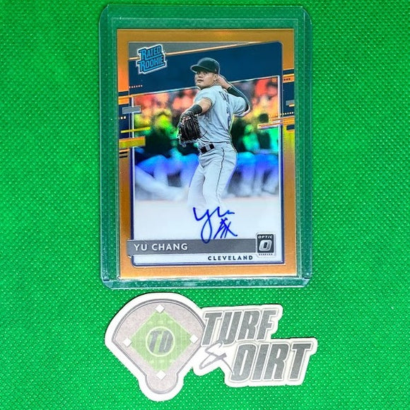 2020 Donruss Optic Rated Rookies Signatures Orange #33 Yu Chang #84/99