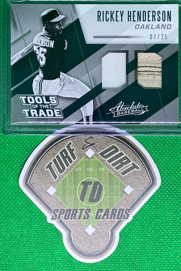 2017 Absolute Tools of the Trade Materials Double #19 Rickey Henderson #7/25