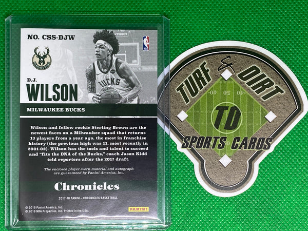 2017-18 Panini Chronicles Signature Swatches Blue #7 D.J. Wilson 48/99
