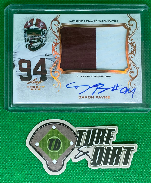 2018 Leaf Trinity Patch Autographs Bronze Spectrum #PADRP Daron Payne