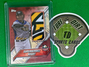 2017 Topps Pro Debut Promo Night Uniform Relics Red #PNRSN Superheroes Night/Tri-City Valleycats 9/10