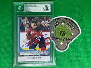 2017-18 Upper Deck #201 Nico Hischier YG Autograph Beckett Authenticated