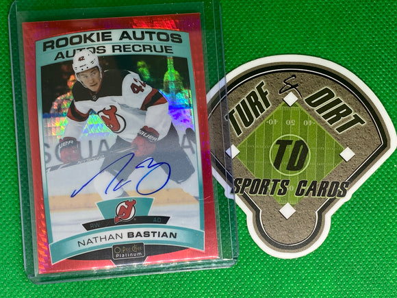2019-20 O-Pee-Chee Platinum Rookie Autographs Red Prism #RNB Nathan Bastian 33/50