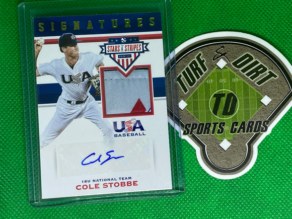 2017 USA Baseball Stars and Stripes Material Signatures Laundry Tag #86 Cole Stobbe 3/8