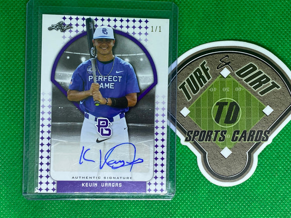 2017 Leaf Perfect Game All-American Game-Day Set Blank Back Purple 1/1 Base Auto BA-KV1 Kevin Vargas 1 of 1