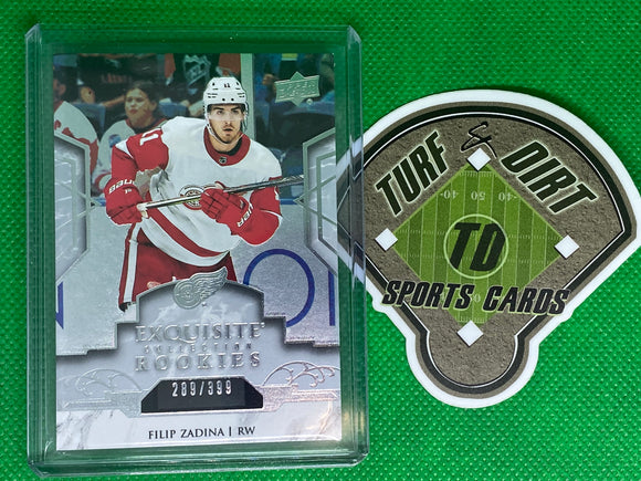 2019-20 Exquisite Collection Platinum Rookies #R8 Filip Zadina 289/399