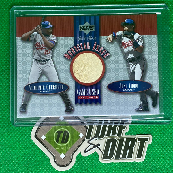 2001 Upper Deck Gold Glove Official Issue Game Ball #OIGV Vladimir Guerrero/Jose Vidro GAME USED