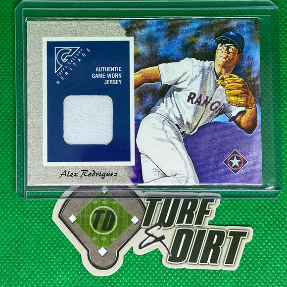 2002 Topps Gallery Heritage Uniform Relics #GHRAR Alex Rodriguez 98 A GAME USED