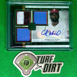 2020 Topps Museum Collection Signature Swatches Triple Relic Autographs Emerald #SSTAAMC Andrew McCutchen #1 of 1