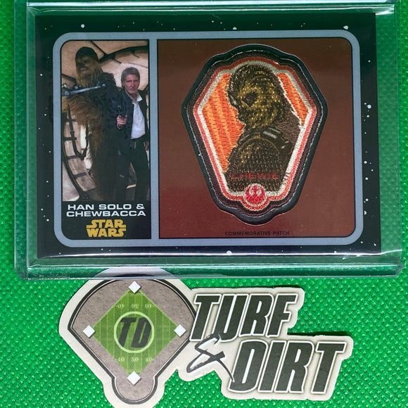 2016 Star Wars The Force Awakens Chrome Patches #P23 Han Solo & Chewbacca 242/737