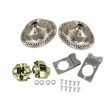 VW Bug, Ghia And Thing 1966 - 1977 Front Cross Drilled Disc Brake Kit Ball Joint VW 4 Lug, Porsche And Chevy Patterns Bolt On