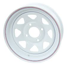 VW White Spoke Steel 4 Lug Pattern Wheels