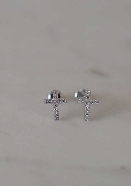 Sophie | Sparkle Cross Studs Clear - Silver