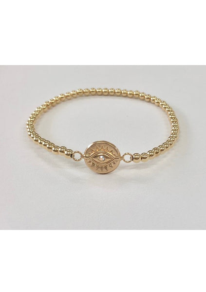 Dane | Lucky Eye Gold Bead Bracelet